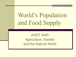 World`s Population and Food Supply