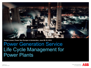 Power Generation Service - Life cycle management for Power