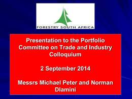 Presentation to Portfolio Committee of DTI 2 September 2014