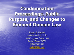 The Use of Eminent Domain in Water Resources Management