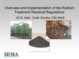 Overview and Implementation of Radium Treatment Residual