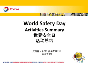 化学有限公司2012年4月World Safety Day Activities 世界安全日活动