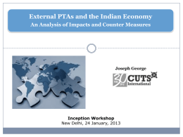 External PTAs and the Indian Economy An Analysis of Impacts and