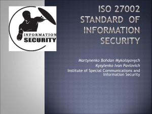 ISO 27002 STANDARD OF INFORMATION SECURITY