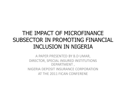 THE IMPACT OF MICROFINANCE SUBSECTOR IN