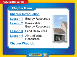 Lesson 1: Energy Resources