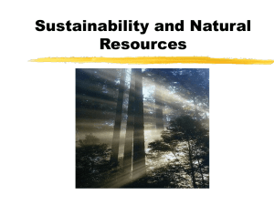 Sustainability and Natural Resources