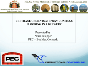 URETHANE CEMENTS or EPOXY COATINGS FLOORING IN A