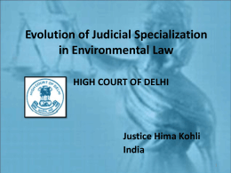 Evolution of Judicial Specialization in Environmental Law HIGH