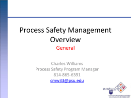 Process Safety Management - Environmental Health and Safety