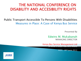 Public Transport Accessible To Persons With Disabilities