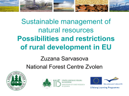 Zuzana Sarvasova, Sustainable management of