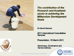 The contribution of the Research and Academic sector in achieving