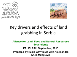 Key drivers and effects of land grabbing in Serbia