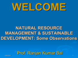 Resource Management - Prof. Ranjan Kumar Bal