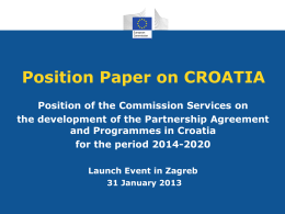 Position Paper on CROATIA Position of the
