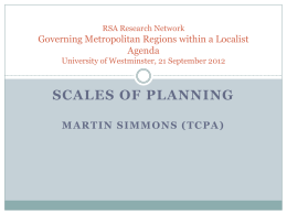 Scales Of Planning - Regional Studies Association
