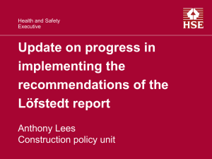 Update on progress in implementing the recommendations of
