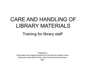 Care and Handling of Library Materials: Training