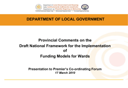 PCF Draft National Framework for the Implementation of Funding