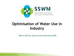Optimisation of Water Use in Industry