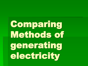 Comparing Methods of generating electricity