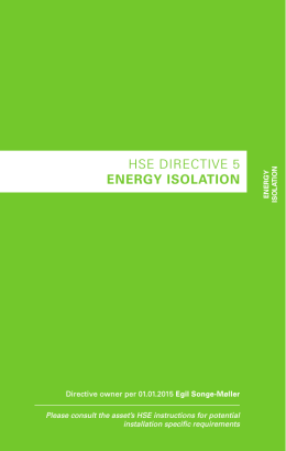 HSE DIRECTIVE 5 ENERGY ISOLATION