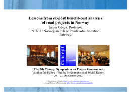 Lessons from ex-post benefit-cost analysis of road - Concept