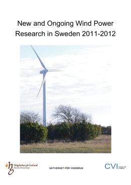 New and Ongoing Wind Power Research in Sweden 2011-2012