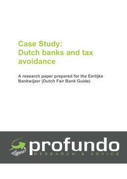Case Study: Dutch banks and tax avoidance