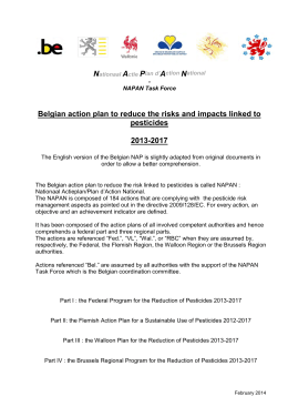 Belgian action plan to reduce the risks and impacts linked to