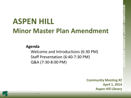 ASPEN HILL - Montgomery County Planning Department