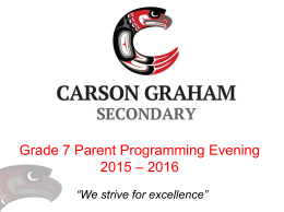 Grade 7-8 Parent Programming Presentation 2015