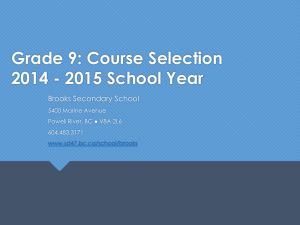 Grade 9 Course Selection - Powell River Board of Education