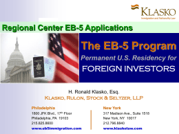 Regional Center EB-5 Applications: The EB