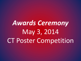 Awards Ceremony May 3, 2014 CT Poster Competition