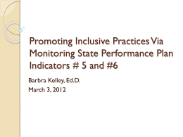 Promoting Inclusive Practices Via Monitoring State Performance