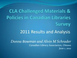 Slideshow - Canadian Library Association