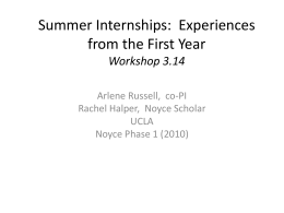 Summer Internships: Experiences from the First Year