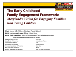 The Early Childhood Family Engagement Framework: Maryland*s