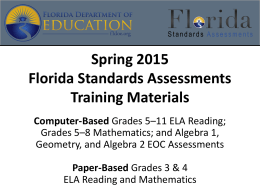 Winter 2014*2015 Florida Standards Assessments