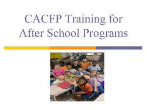 CACFP Training for After School Programs