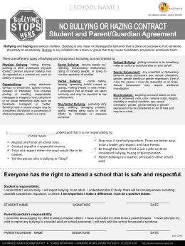 Student-Parent No-Bullying/Hazing Contract