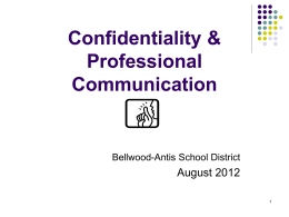 Confidentiality - Bellwood Antis School District