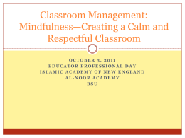 Classroom Management - New England Council of Islamic Schools