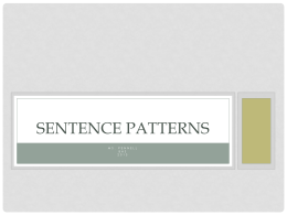 Sentence Patterns - Brookwood High School