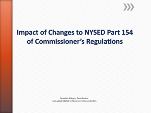 Impact of Changes to NYSED Part 154 of Commissioner Regulations