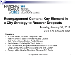 Reengagement Centers - National League of Cities