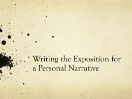 Writing the Exposition for a Personal Narrative