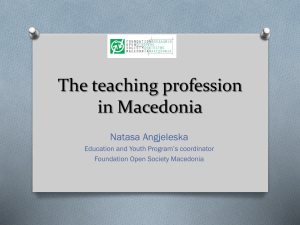 The teaching profession in Macedonia